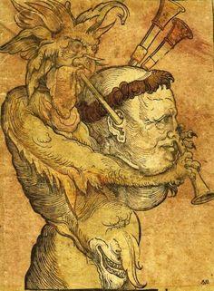 Дьявол играет на волынке в виде головы Лютера.
