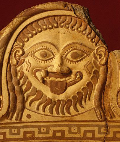 Fragmentary roof ornament with Medusa Etruscan, 550 - 500 BCE. The J. Paul Getty Museum