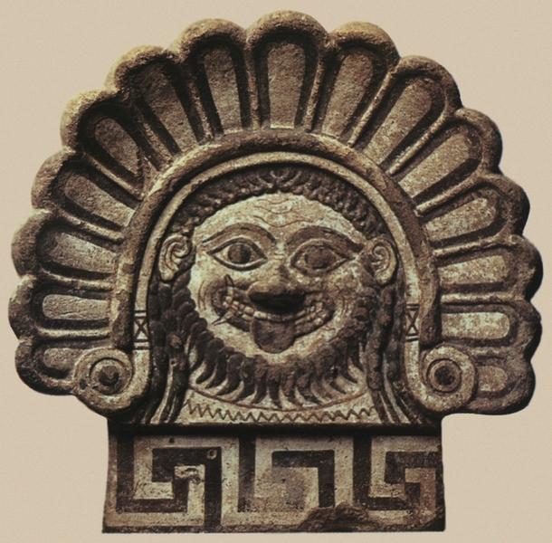 Этрусский антефикс с изображением головы Медузы Горгоны. Конец VI в. до н. э.