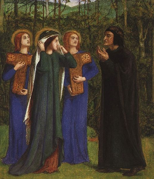 Dante Gabriel Rossetti - The Meeting of Dante and Beatrice in Paradise (1853)