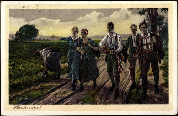 Postkarte Ebbinghaus, Wandervögel, Wanderer, Gesang