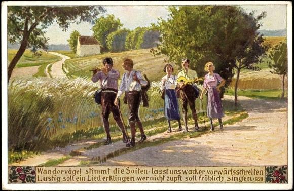 Postkarte Hey P., Gruppe der Wandervögel musiziert