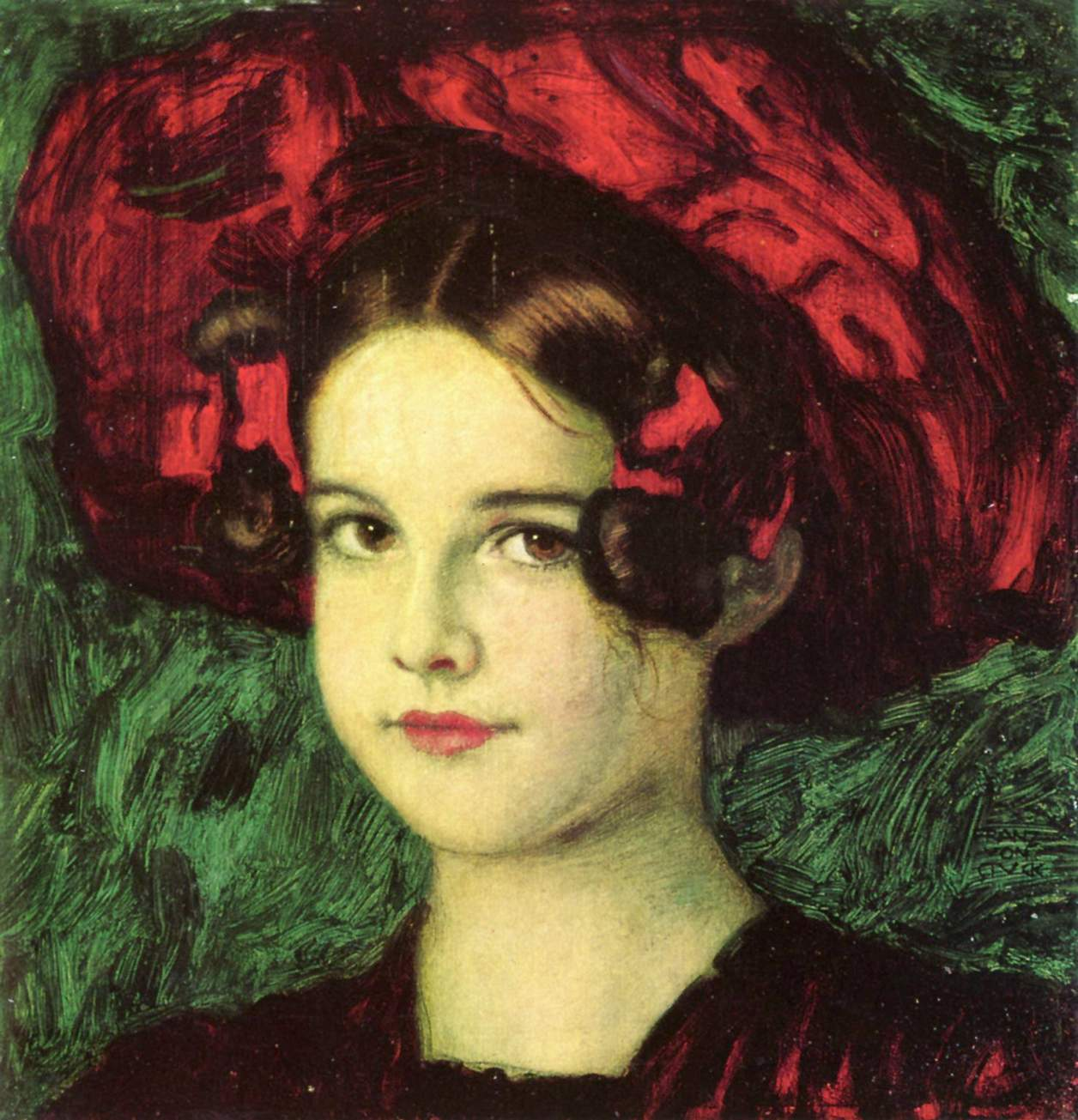 Mary with a red hat - Франц фон Штук