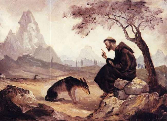 Франциск Ассизский беседует с волком