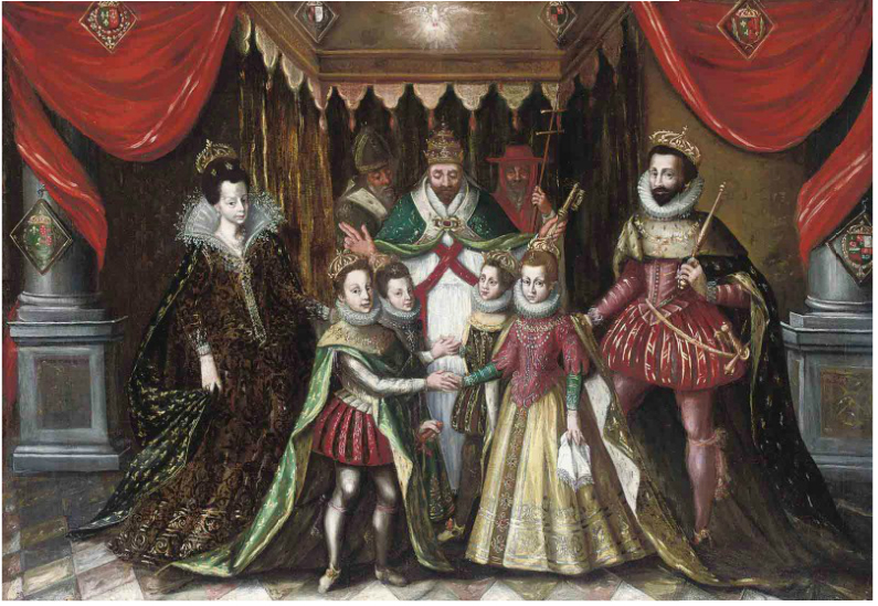 The double marriage of Louis XIII of France with Anne of Austria and Philip, Prince of Asturias, with Elizabeth of France