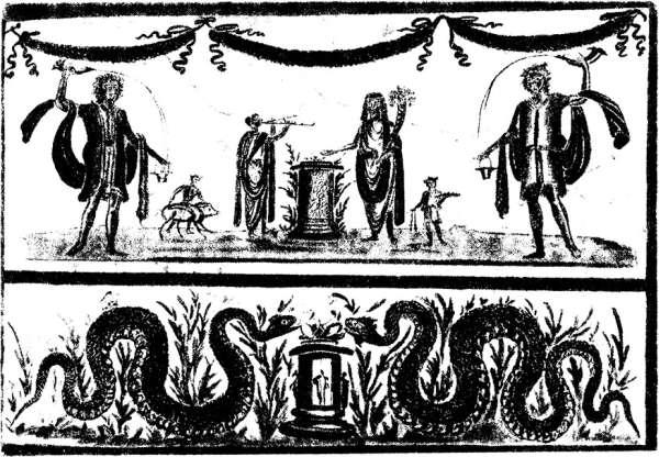 Римские лары, фреска из Помпей, I в. н. э.  Мифы народов мира, т. 2. М., 1992