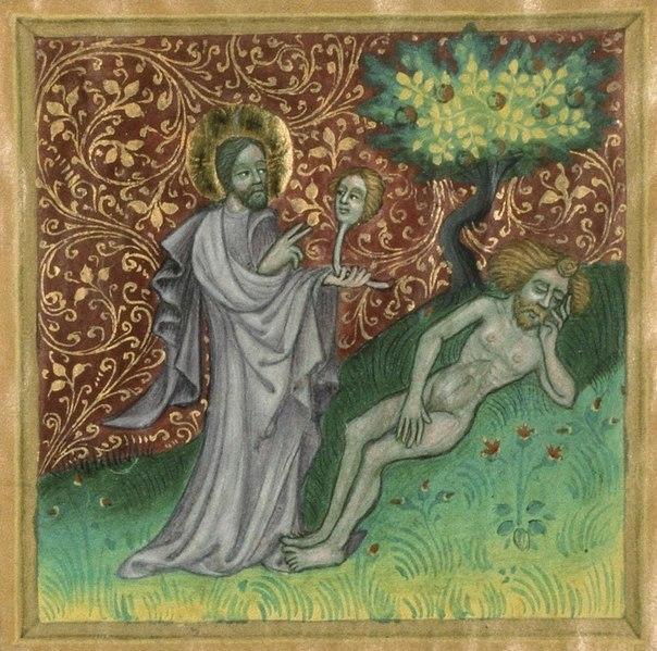 Сотворение Евы из ребра. Миниатюра XV в.