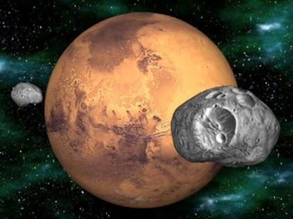 Mars And Its Moons Phobos And Deimos