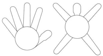 пять пальцев-лучей пентаграммы