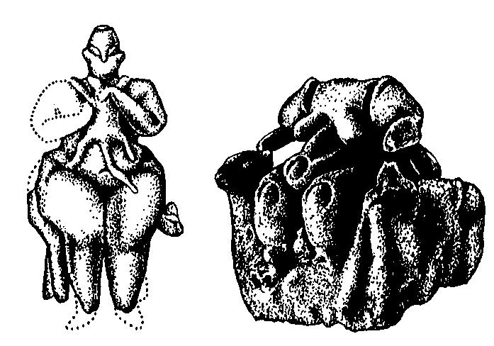 Роженица с детенышем леопарда (Хаджнлар), Богиня на троне (Чатал Хююк)