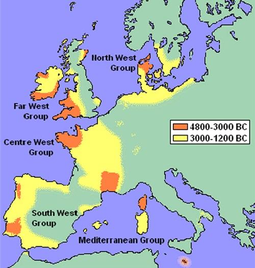 Два этапа распространения мегалитов в Западной Европе.