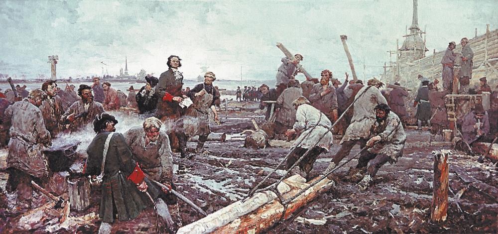 мужики на строительстве Петербурга