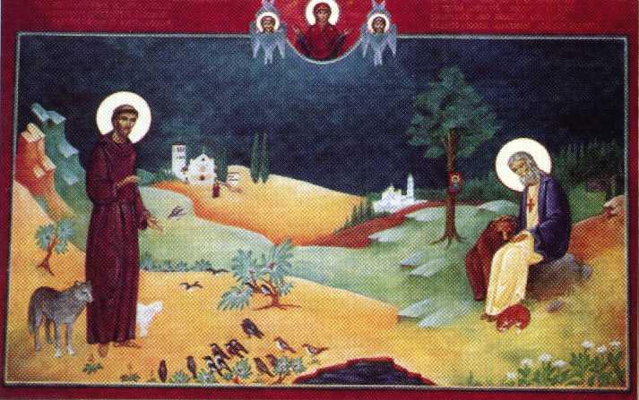 Святые Франциск Ассизский и Серафим Саровский, икона
