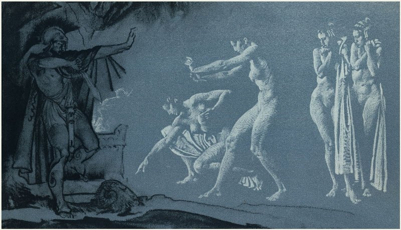 Уильям Рассел Флинт. Одиссей и души мёртвых в царстве Аида  William Russel Flint.