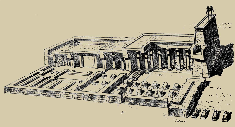 египетский храм в разрезе