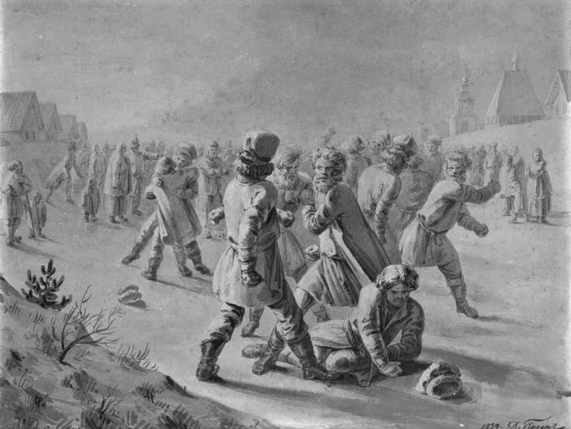 Д.Гаген. Кулачный бой. 1839