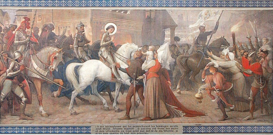 Въезд Жанны в Орлеан – фреска из базилики Bois-Chenu
