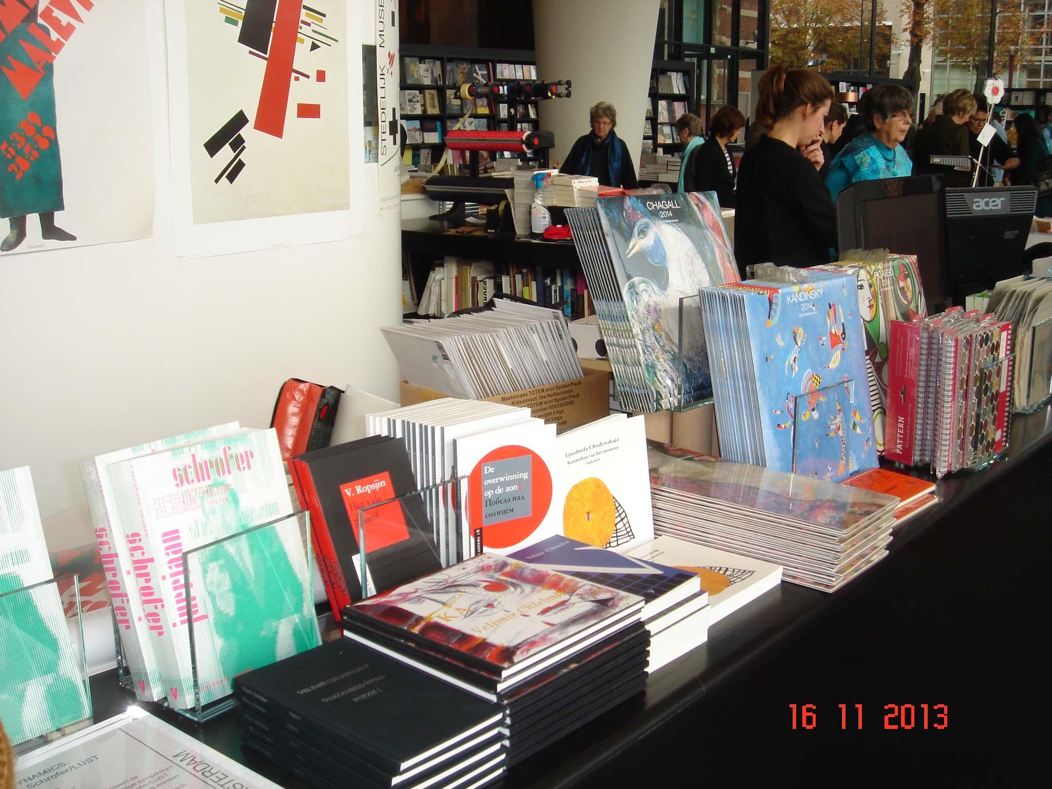 My book 'Kenmerken van het moment' sales on Malevich exposition in The Stedelijk museum Amsterdam/ November 2013