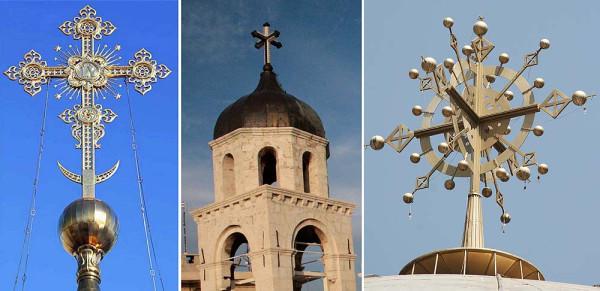 Рис. 151. Кресты на храмах – (слева направо) в России, в Маалюле, в Эфиопии (1)