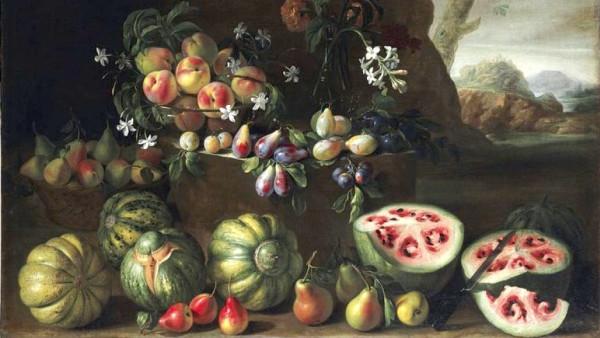 Джованни Станки, «Арбузы и другие фрукты в пейзаже», 1645