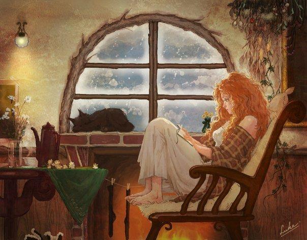 фото рыжих девушек с книгой