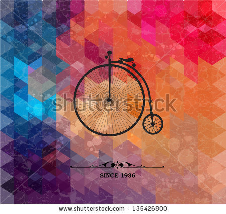 stock-vector-retro-bicycle-on-colorful-geometric-background-with-grunge-paper-retro-background-with-geometric-135426800