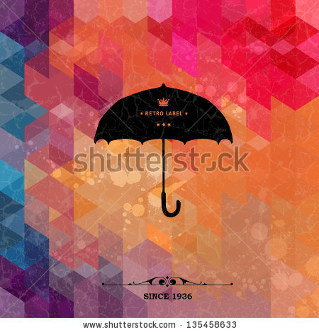 stock-vector-retro-umbrella-on-colorful-geometric-background-with-grunge-paper-retro-background-with-geometric-135458633
