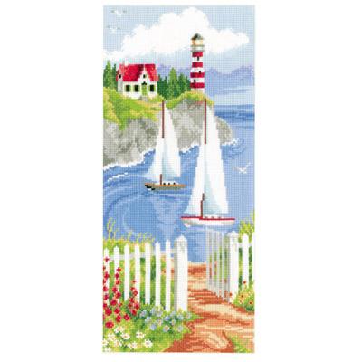 лодки в море вышивка