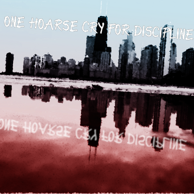 The cover for both of them-- A blurred picture of Chicago's skyline and it's reflection in the water overlaid with blue and red.