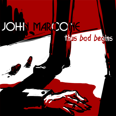 John's cover, a vector-sketch mix done in stark red, black, and white with John's legs standing over a bloodied body with bullet shells on the floor