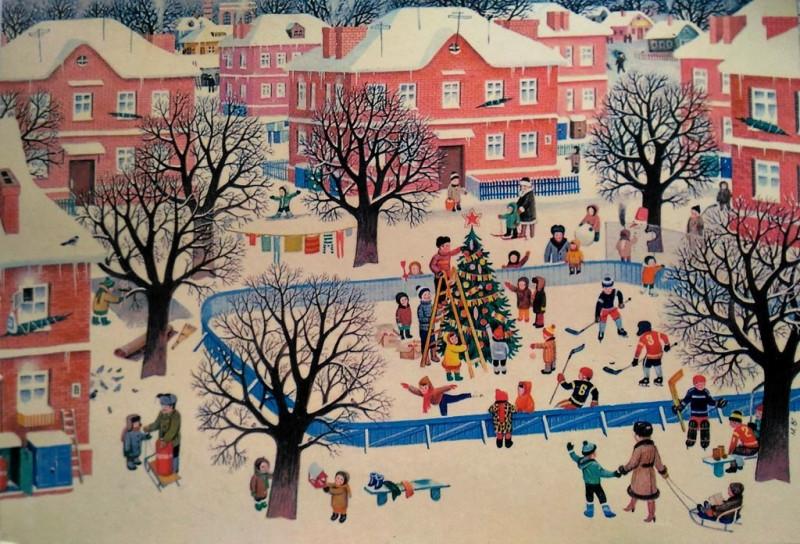 Новогодняя открытка 80-х годов XX века