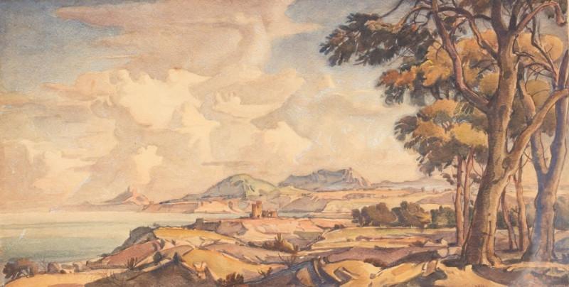 Крымский пейзаж с группой деревьев. 1931