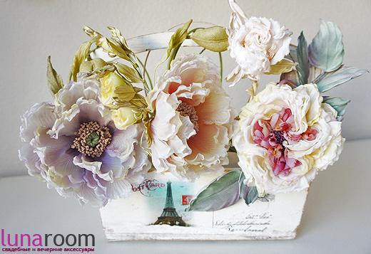 Цветы из ткани ободки