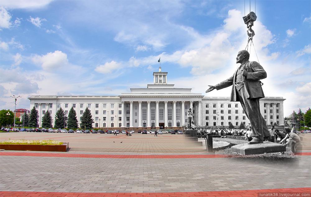 Демонтаж статуи Ленина в Нальчике