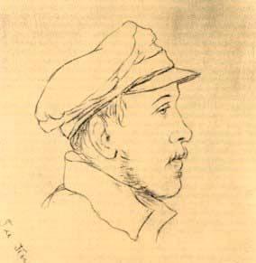 Единственный портрет Лермонтова в профиль, сделан его однополчанином Д.П. Паленом в 1840 году.