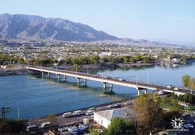 Ленинабад, старый мост, вид на правый берег