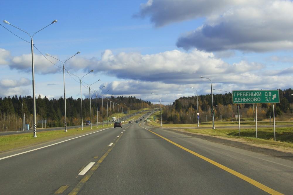 Новорижское шоссе в сторону Москвы.