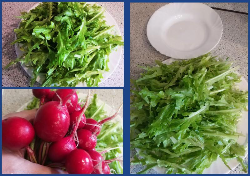 Пустая тарелка на фото справа - чтобы показать, что блюдо с салатом было большое-пребольшое.