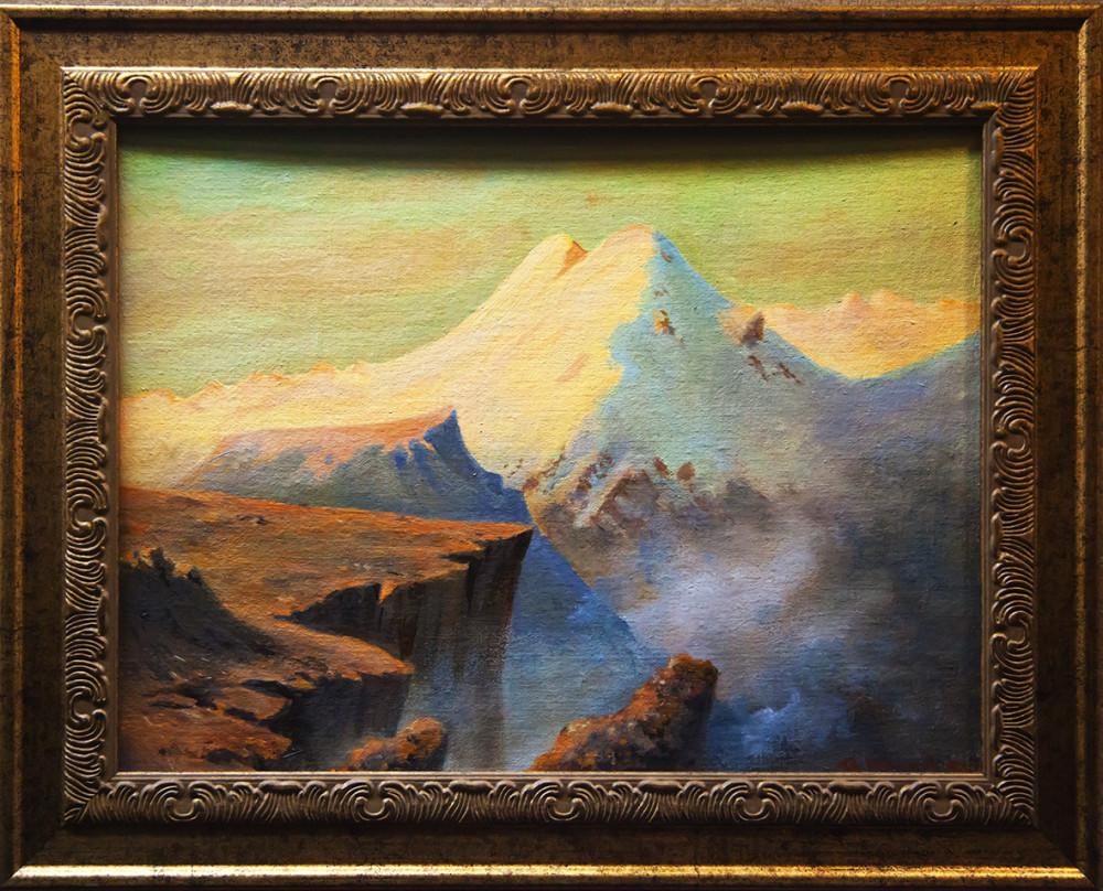 """Картина Лермонтова """"Эльбрус"""", снято в музее поэта в Тамани."""