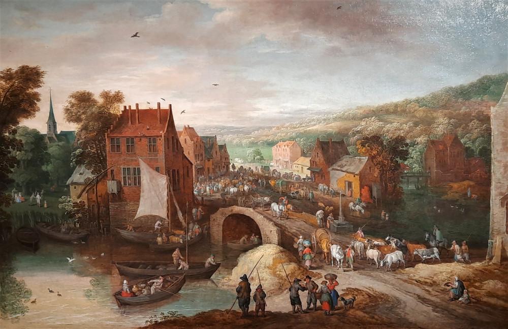 12. Ян Брйгель Младший. Пейзаж с мостом через реку