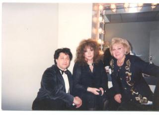На фото: Миша Гладков, Алла Пугачёва и жена Миши - диктор Валентина Печорина