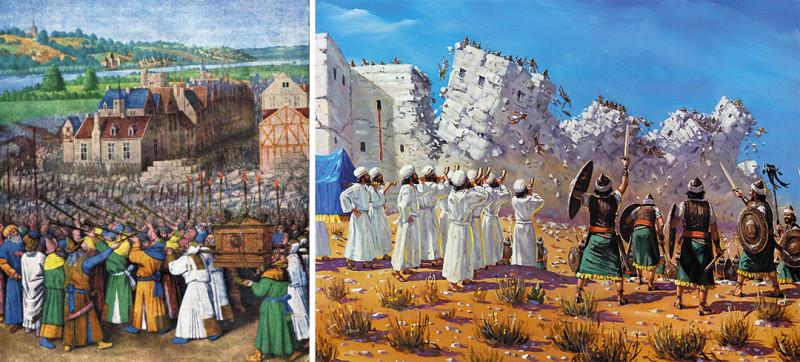 Так изобразили взятие Иерихона средневековый и современный художники