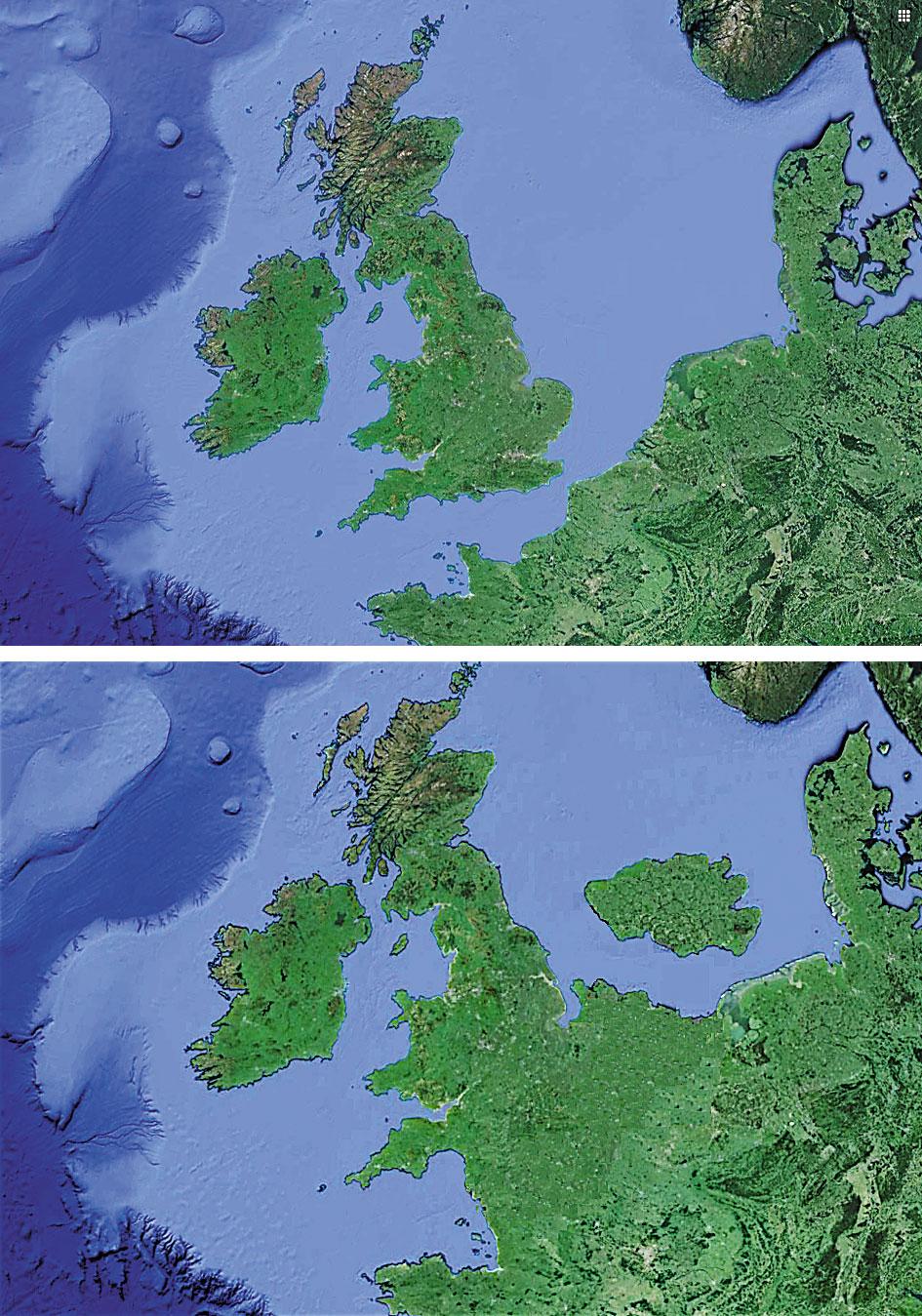 Вверху: Британия сегодня; внизу: приблизительно так выглядела граница моря и суши 10 000 лет назад