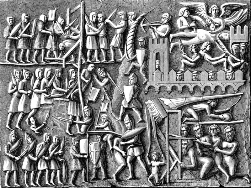 Альбигойский крестовый поход. Копия средневекового барельефа.
