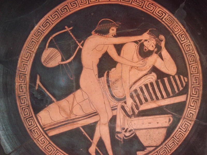 Мальчик-раб помогает перебравшему вина симпозиасту, извините, очистить желудок. Рисунок на вазе