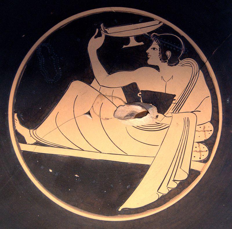 Игрок в коттаб. Рисунок на вазе