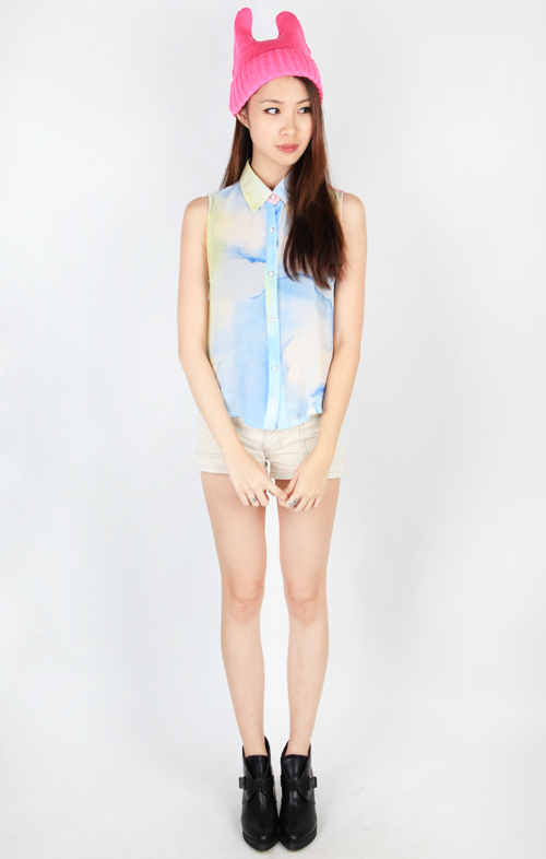 WATERCOLOR SLEEVELESS BLOUSE - MULTI1