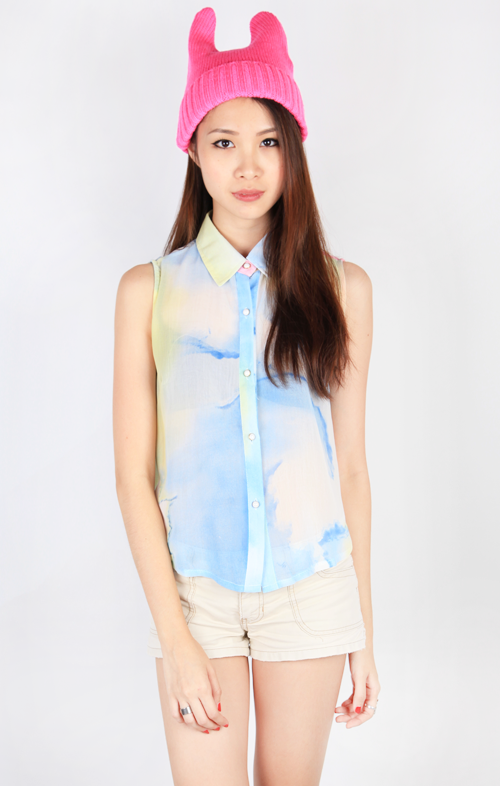 WATERCOLOR SLEEVELESS BLOUSE - MULTI2