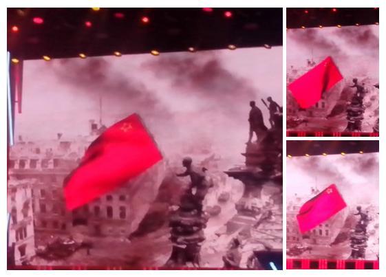Путинцы из «Бессмертного полка» добрались до Знамени Победы