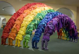 Guerra de la Paz, Indradhanush, 2008, mix media sculpture with assorted clothing, 120x240x96in (304x609x244cm)